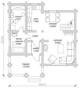 Планировка дома из бревна по проекту 147 (1й этаж)