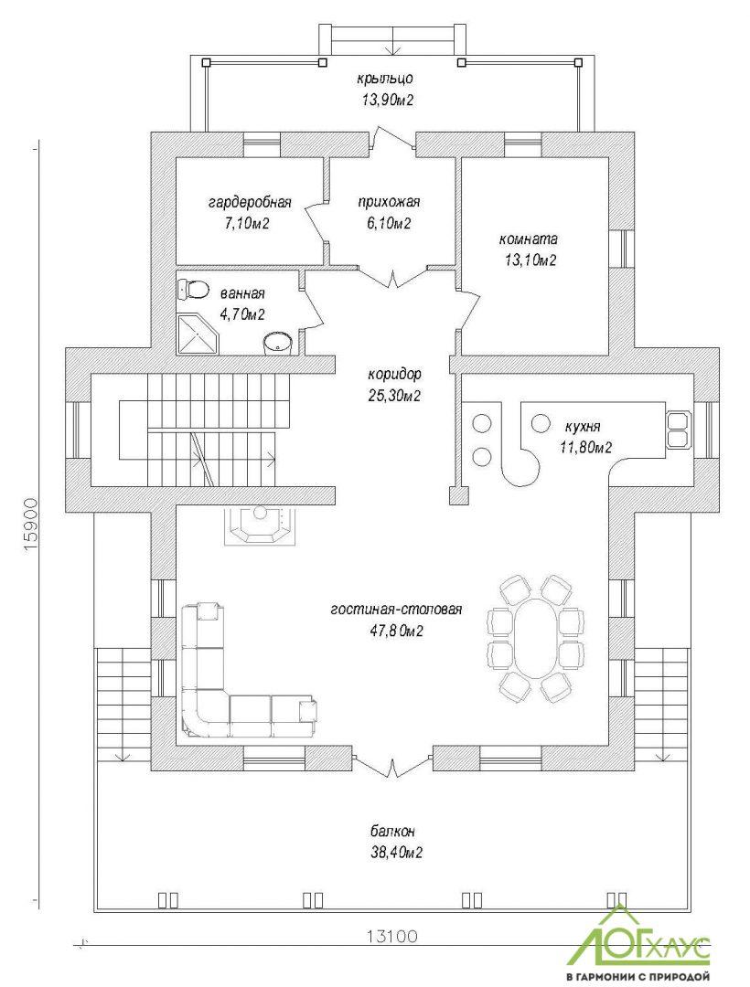 Планировка комбинированного дома из бревна и кирпича по проекту 323 (1й этаж)