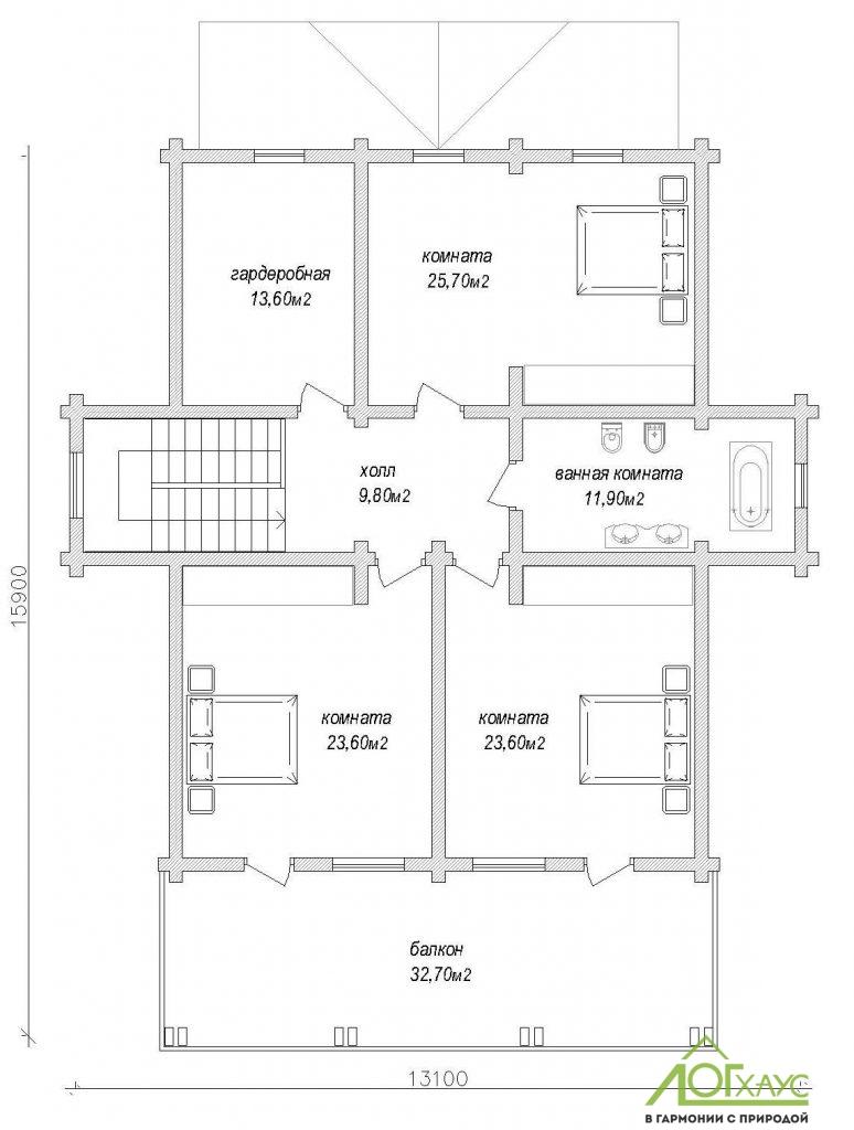 Планировка комбинированного дома из бревна и кирпича по проекту 323 (2й этаж)