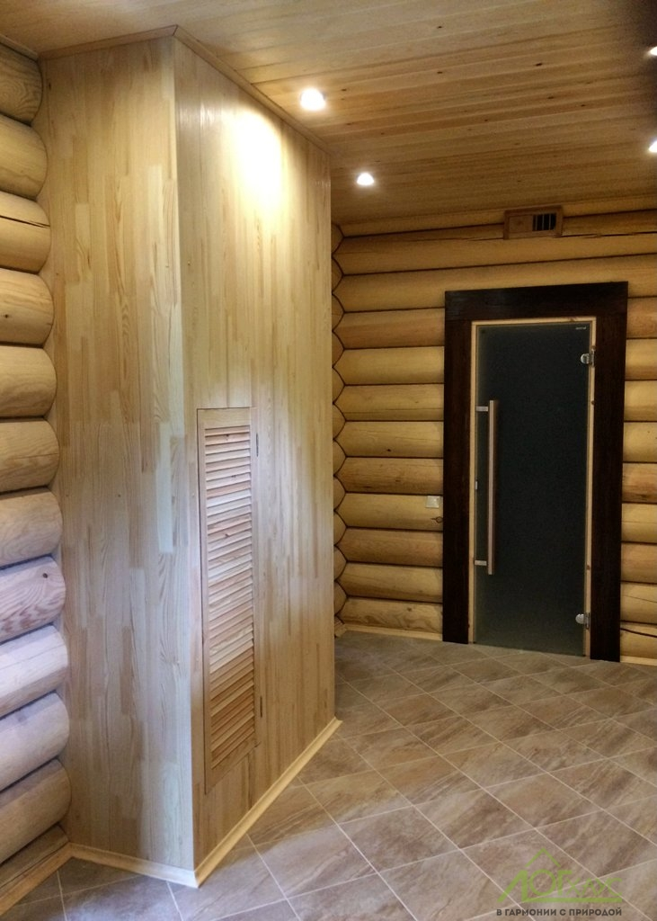 Отделка бани из бревна внутри