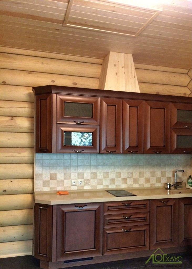 Установка кухни в бревенчатой бане
