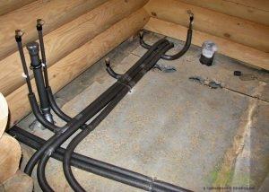 Монтаж инженерии в бревенчатой бане