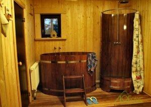 Помывочная в бревенчатой бане с купелью