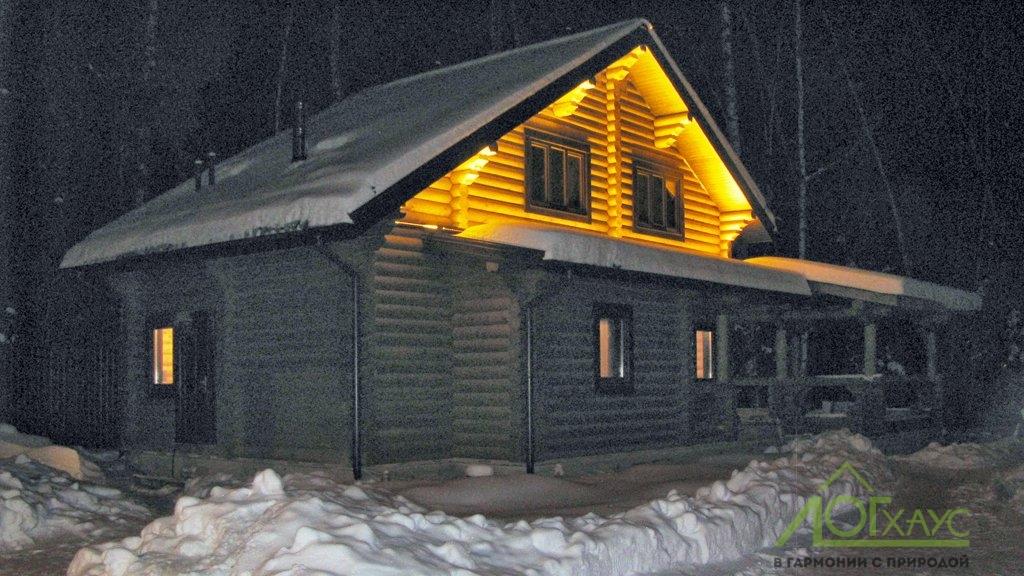 Фасадное освещение бревенчатой бани
