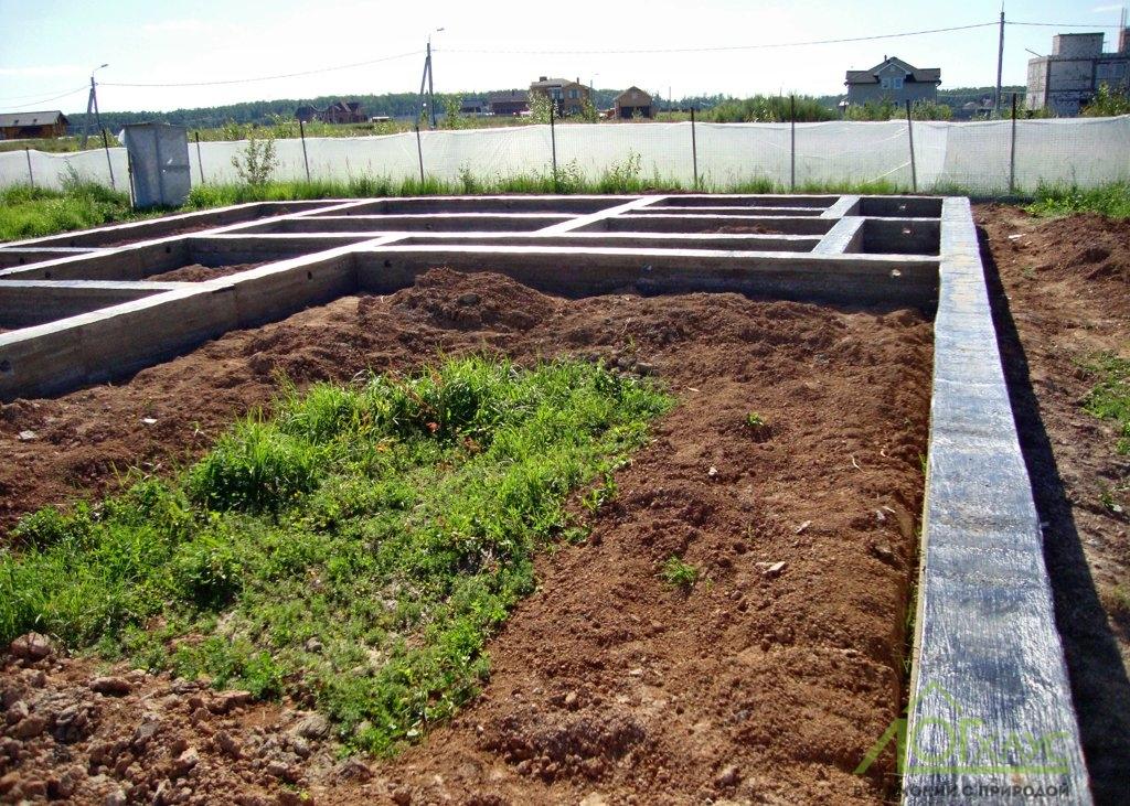 Ленточный фундамент бани из бревна