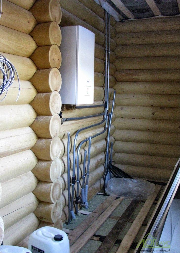 Электрический котел отопления в бане из бревна