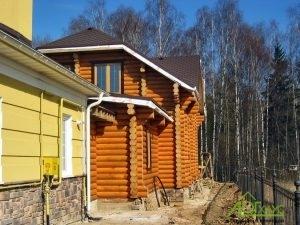 Пристройка дома-бани из ОЦБ к каменному дому