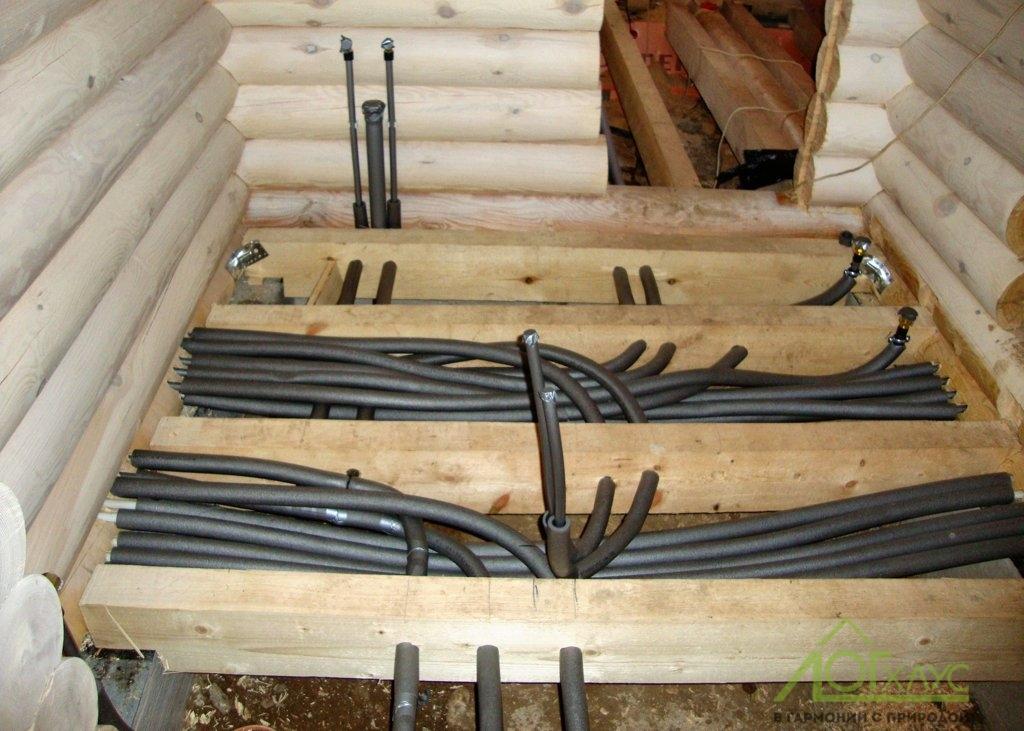 Разводка инженерии в срубе бани