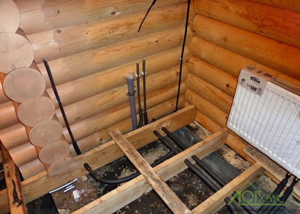 Установка инженерии в оцилиндрованной бане