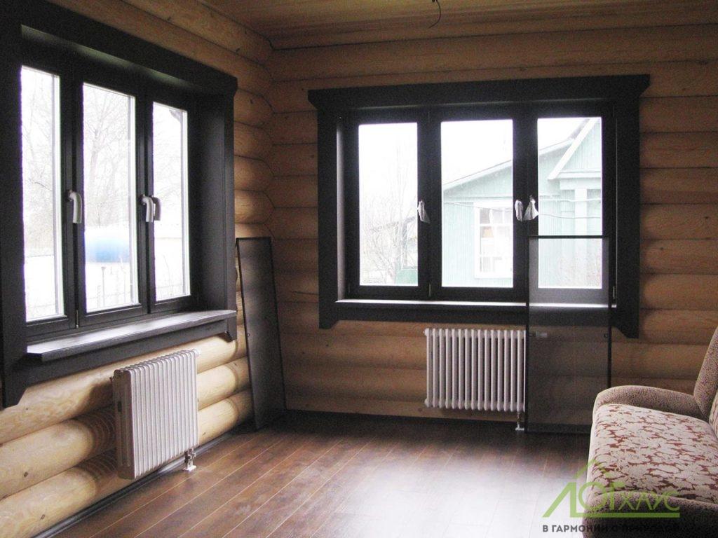 Окна, подоконники и наличники внутри дома
