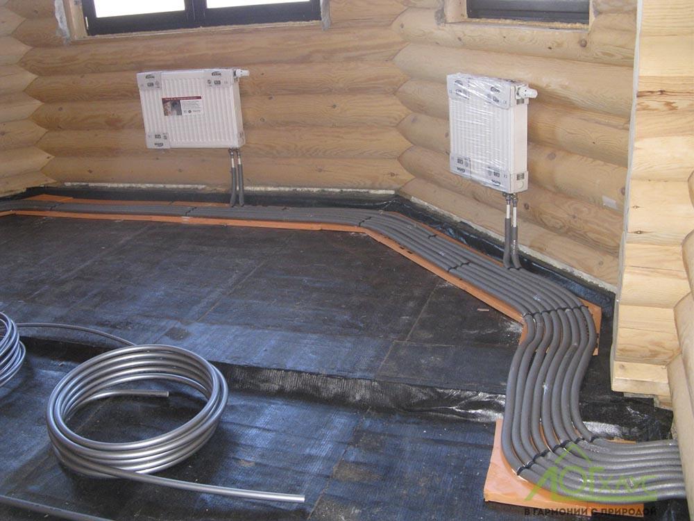 Монтаж труб отопления в деревянном доме