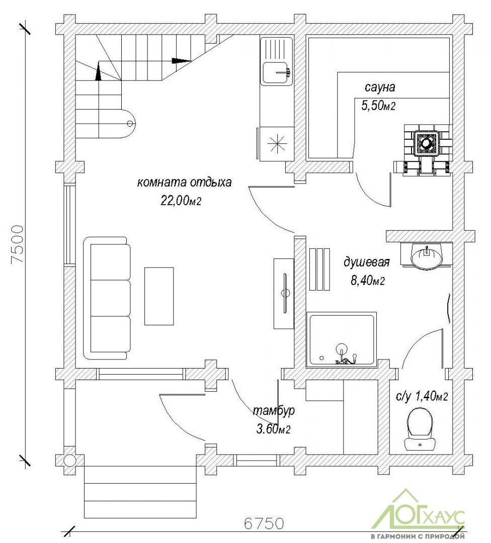 Планировка бани из бревна по проекту 101 (1й этаж)