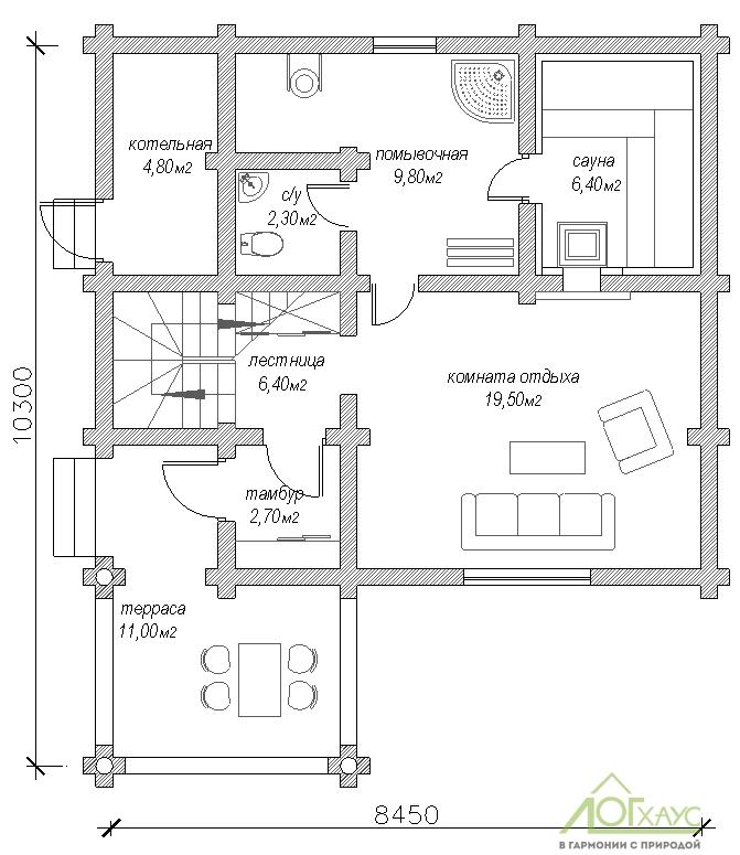 Планировка бани из бревна по проекту 107 (1й этаж)