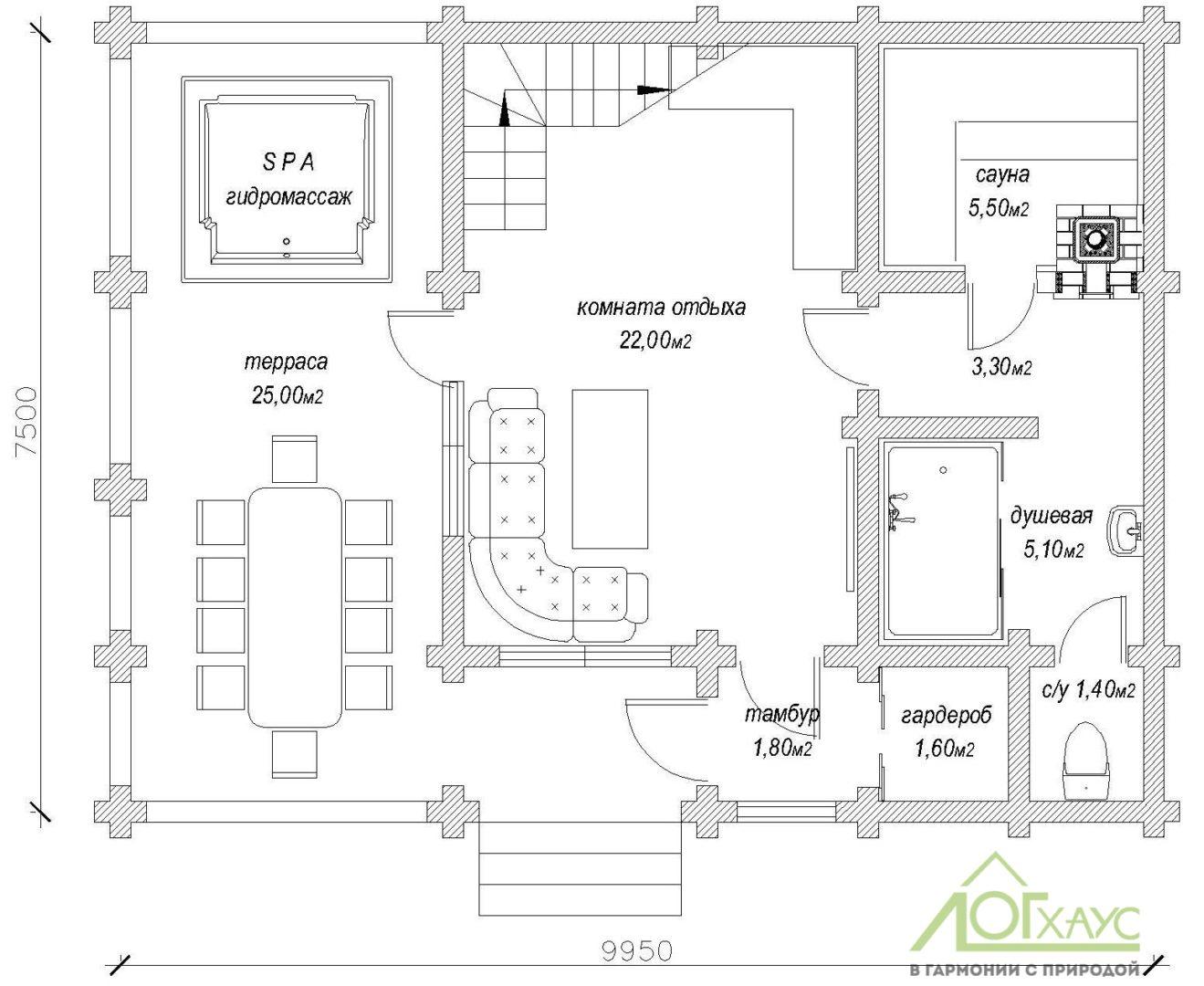 Планировка бани из бревна по проекту 115 (1й этаж)