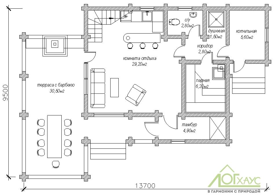 Планировка бани из бревна по проекту 141 (1й этаж)