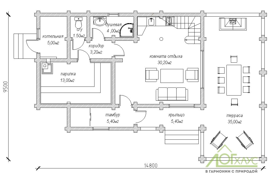 Планировка бани из бревна по проекту 179 (1й этаж)