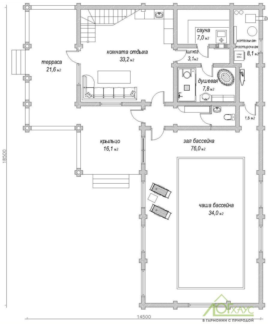 Планировка бани из бревна по проекту 258 (1й этаж)
