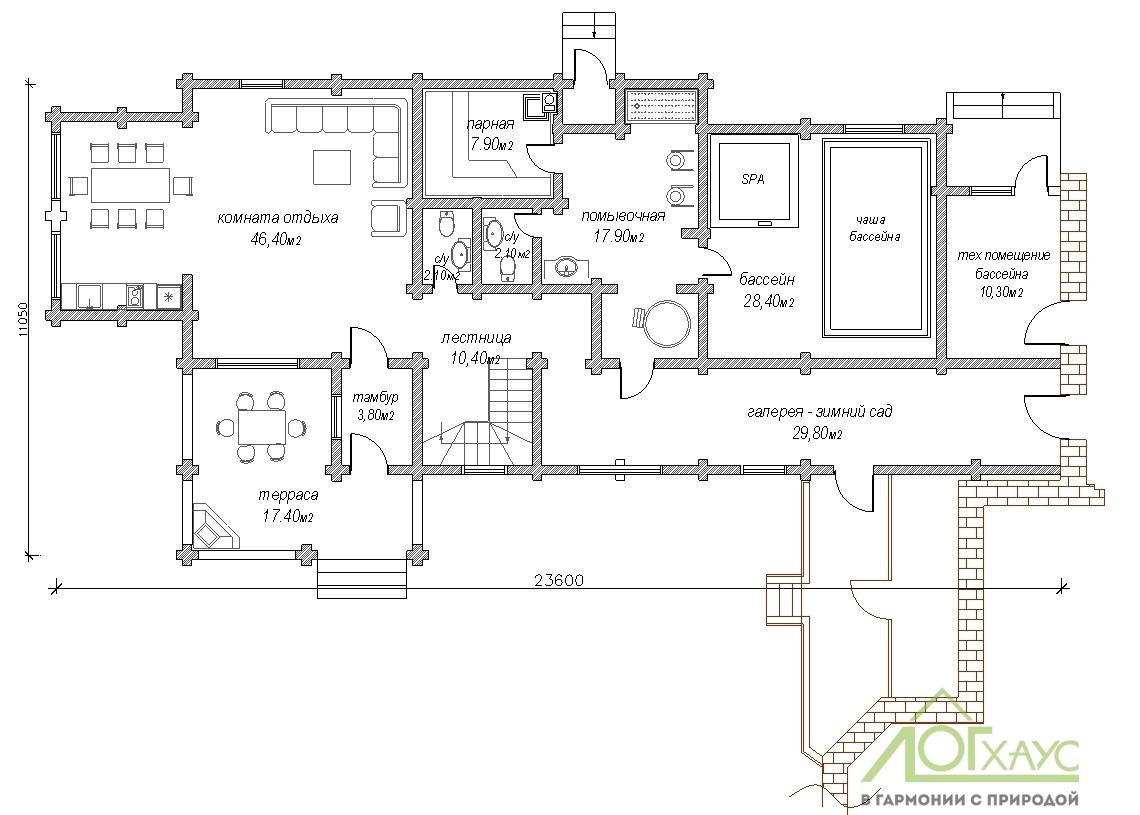 Планировка банного комплекса из бревна по проекту 304 (1й этаж)