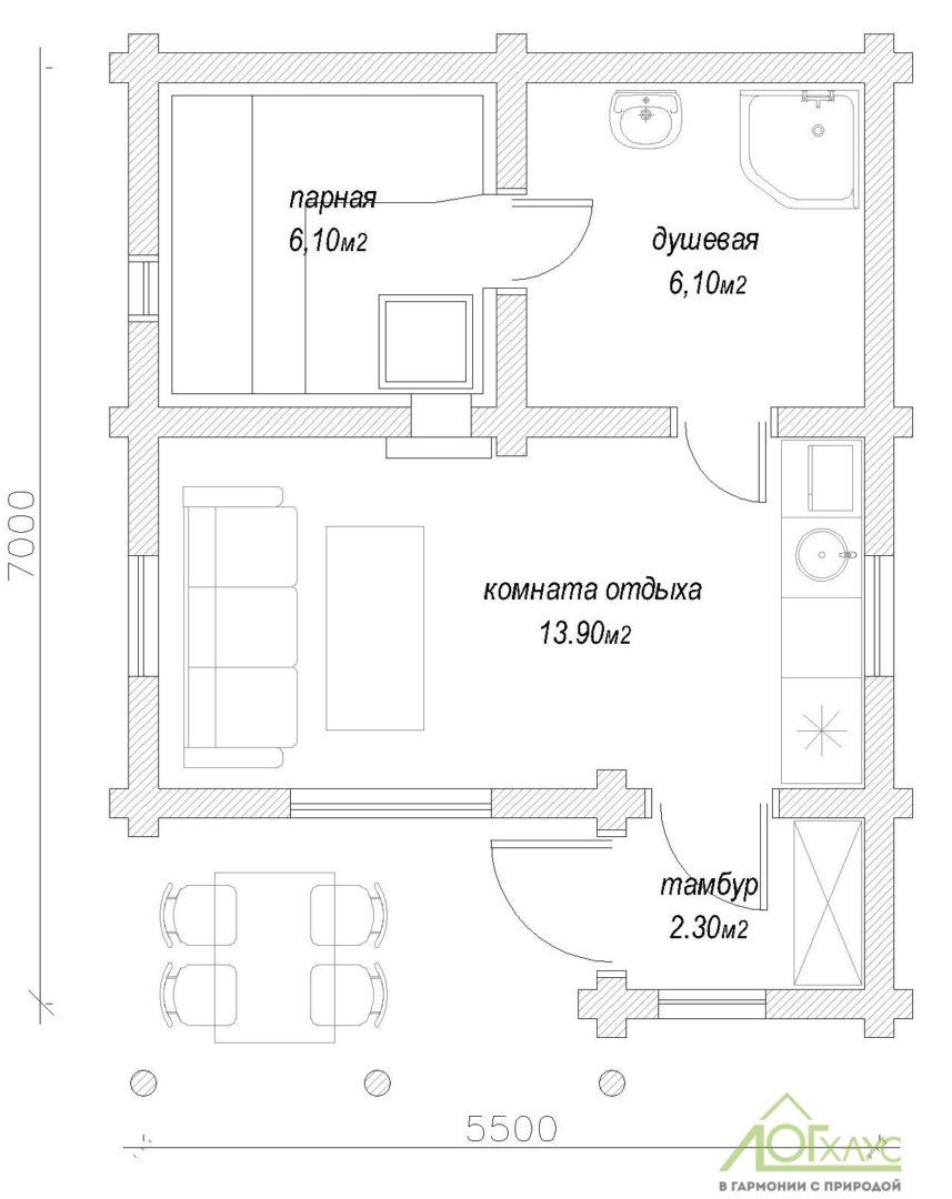 Планировка бани из бревна по проекту 33
