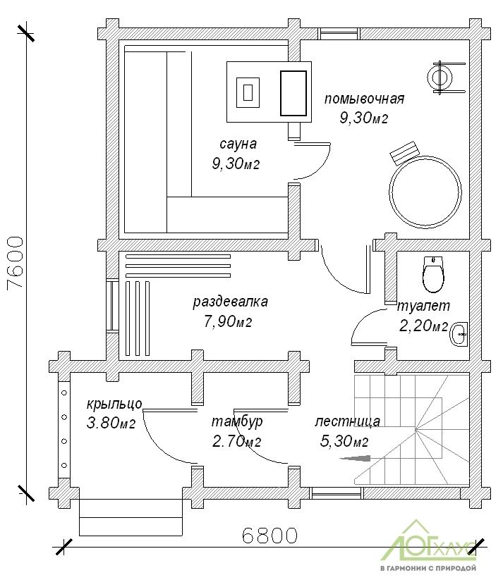 Планировка бани из ОЦБ по проекту 90 (1й этаж)