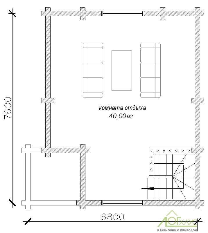 Планировка бани из ОЦБ по проекту 90 (2й этаж)