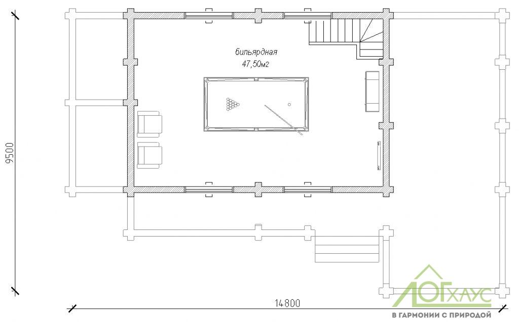 Планировка бани из бревна по проекту 179 (2й этаж)