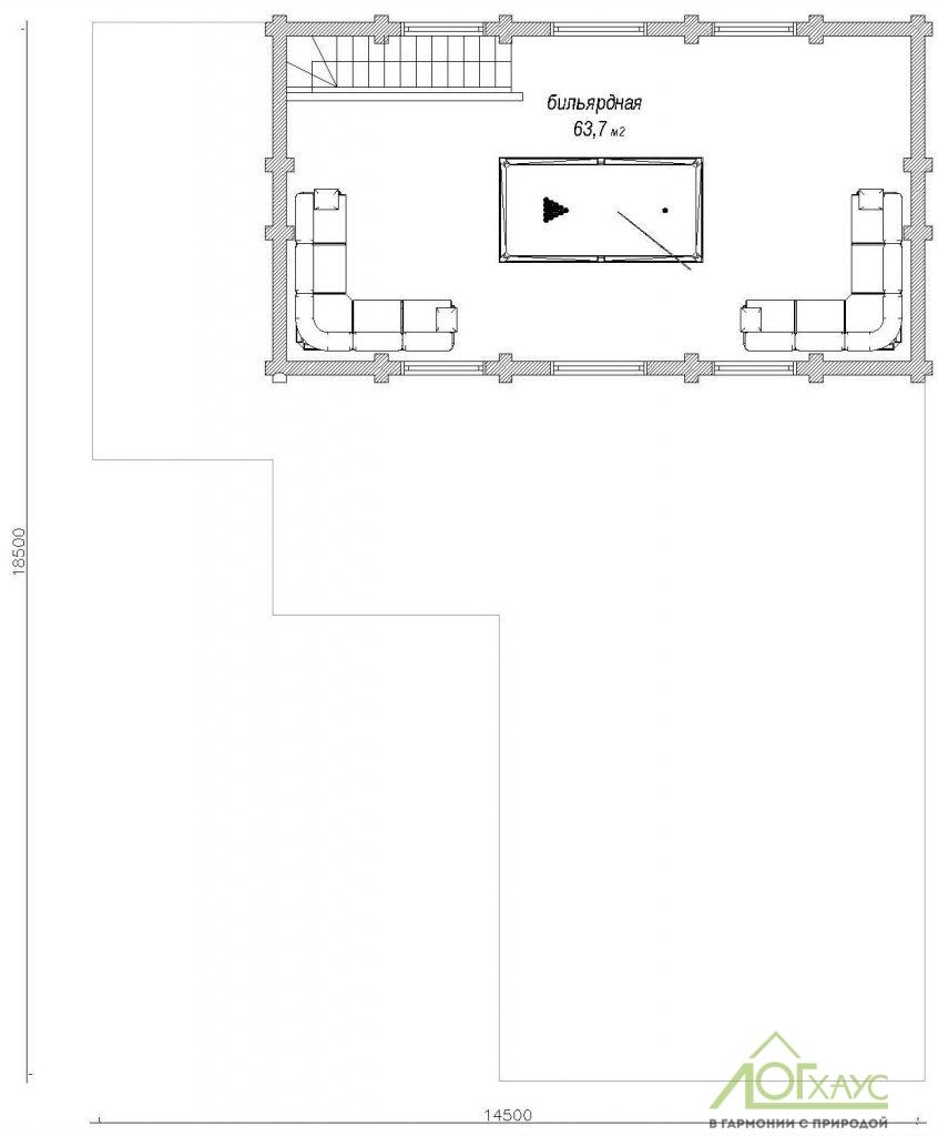 Планировка бани из бревна по проекту 258 (2й этаж)