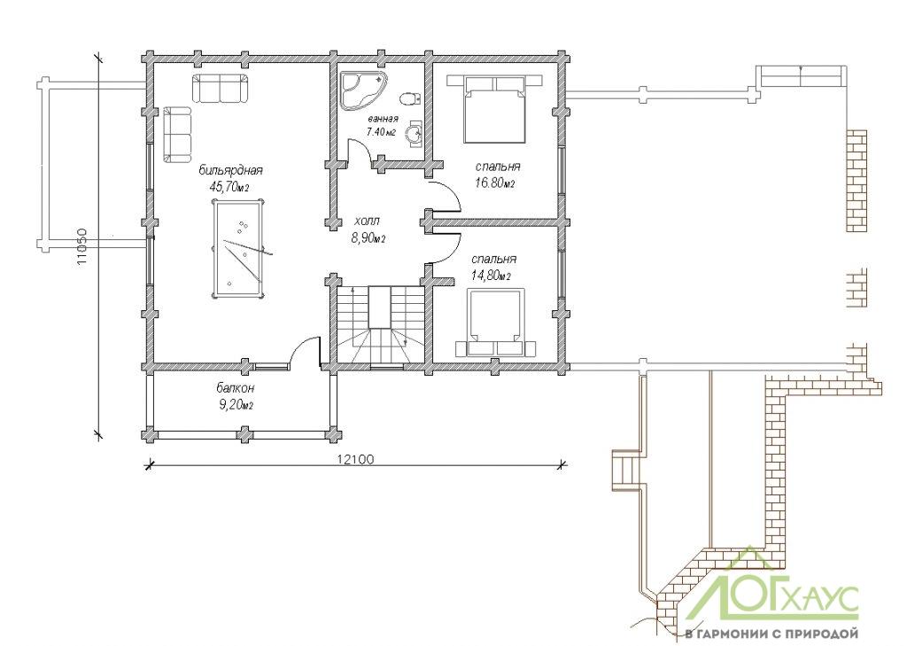 Планировка банного комплекса из бревна по проекту 304 (2й этаж)