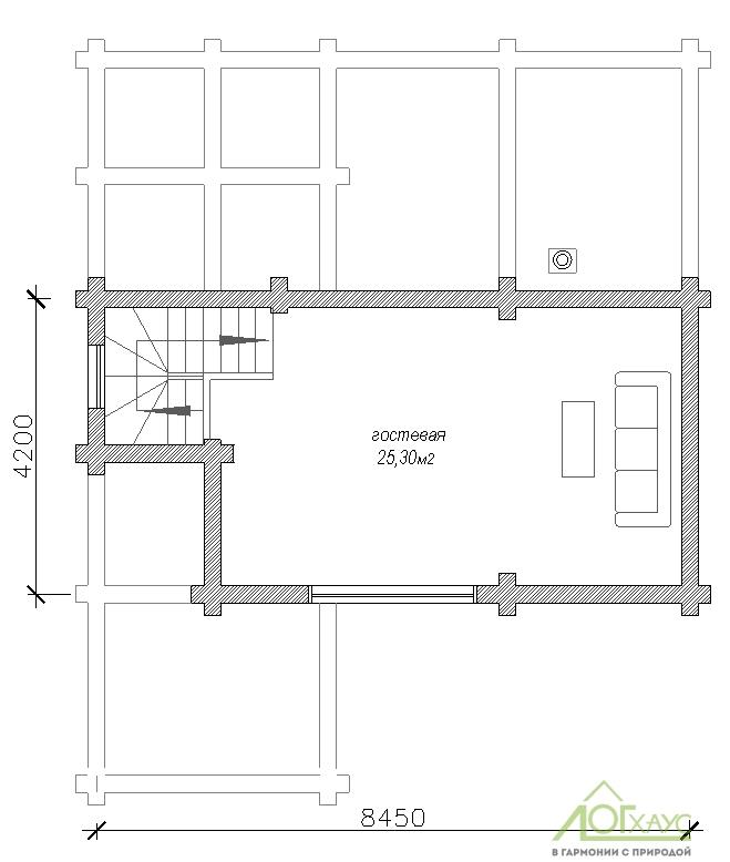 Планировка бани из бревна по проекту 107 (2й этаж)