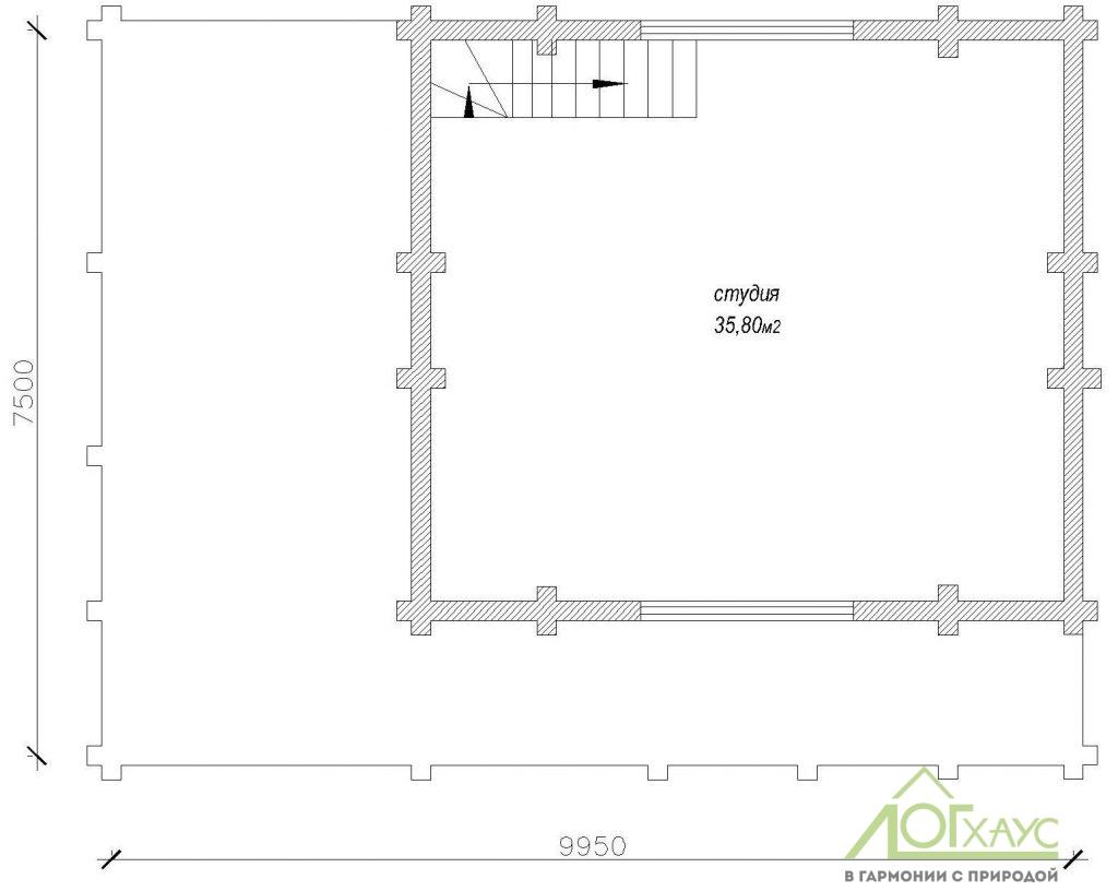 Планировка бани из бревна по проекту 115 (2й этаж)