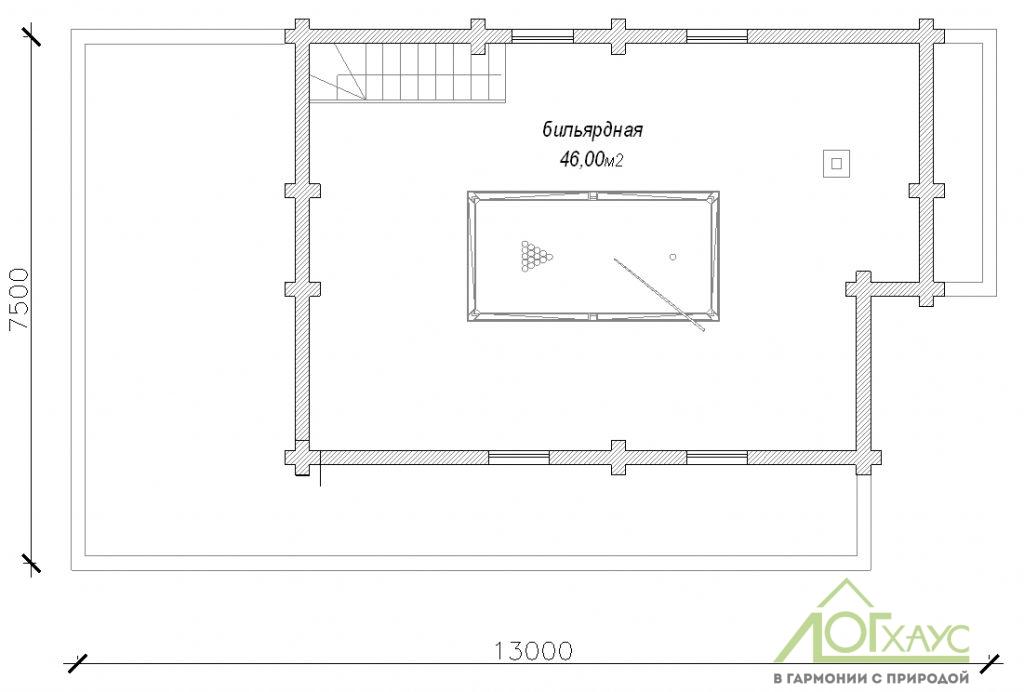 Планировка бани из бревна по проекту 132 (2й этаж)