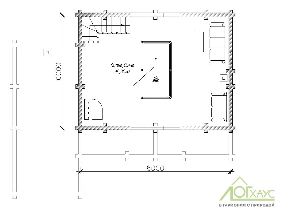 Планировка бани из бревна по проекту 141 (2й этаж)