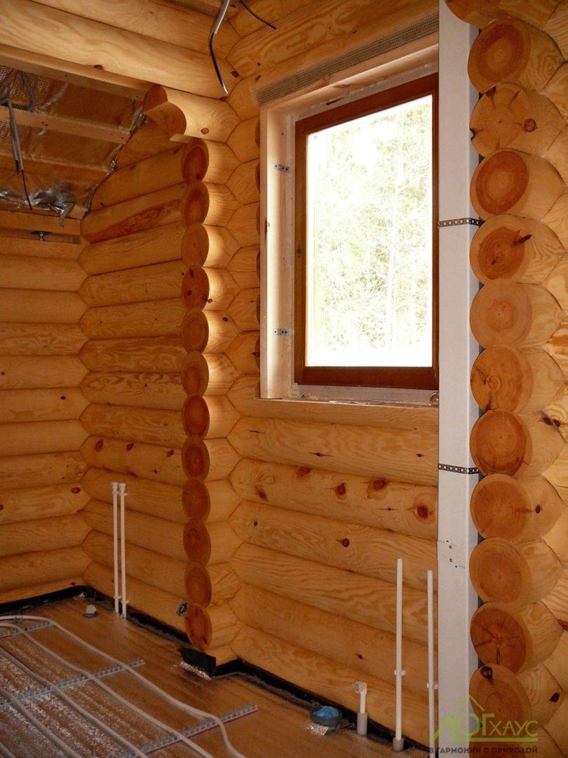 Внутренняя отделка и монтаж инженерии в доме из бревна