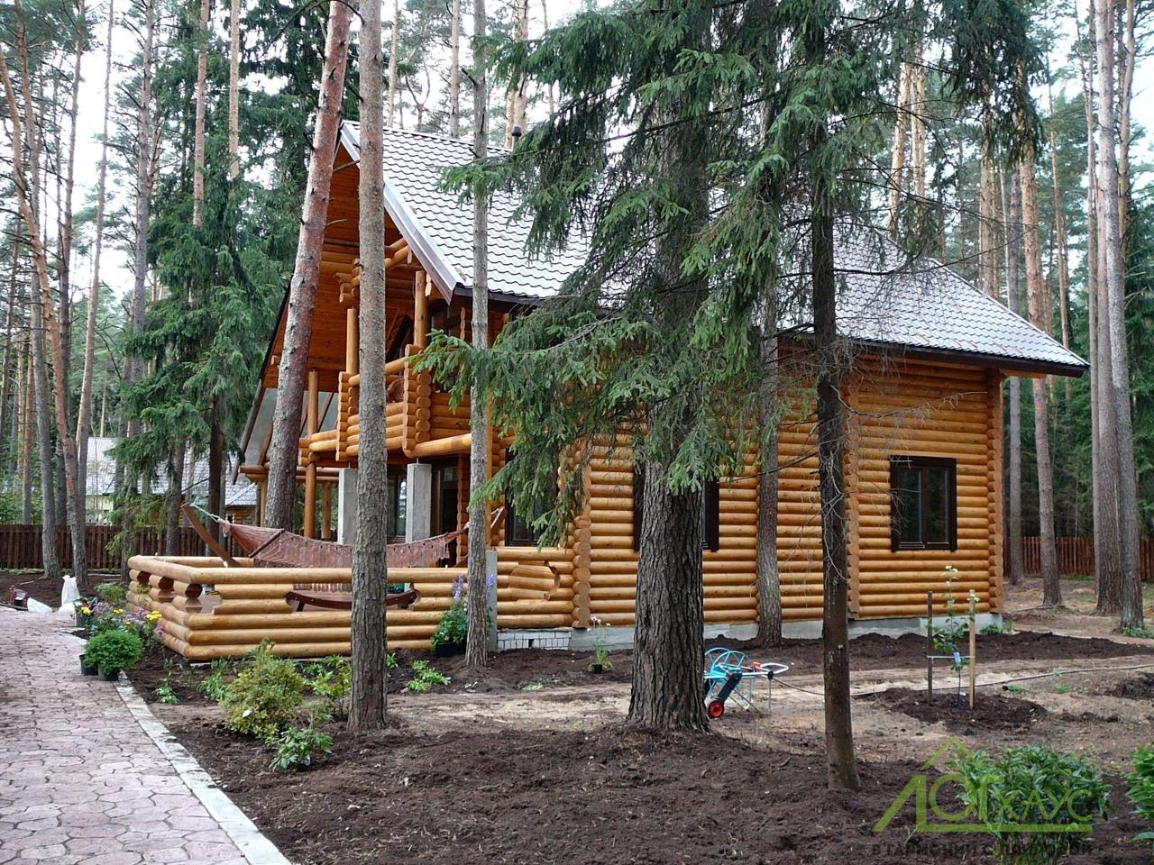 Бревенчатый дом в лесу