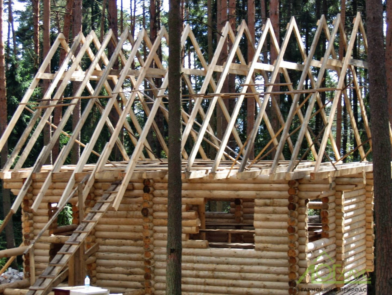 Монтаж сруба и стропил деревянного дома
