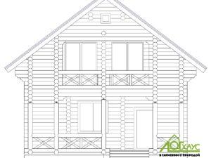 Эскиз дома из бревна по проекту 132