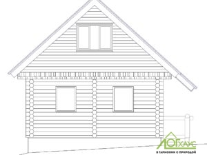 Эскиз дома из бревна по проекту 76