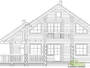 Эскиз дома из бревна по проекту 201