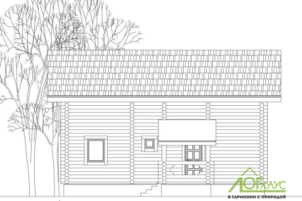 Фасад дома-бани из бревна по проекту 123