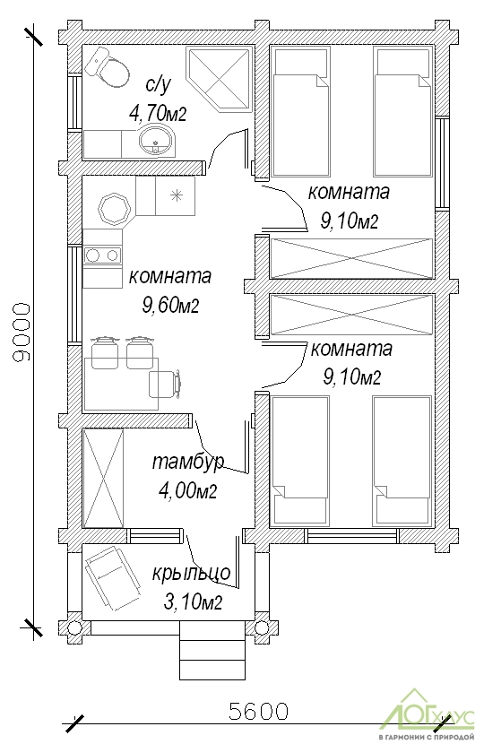 Планировка дома из бревна по проекту 47