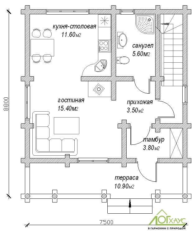 Планировка дома из бревна по проекту 132 (1й этаж)