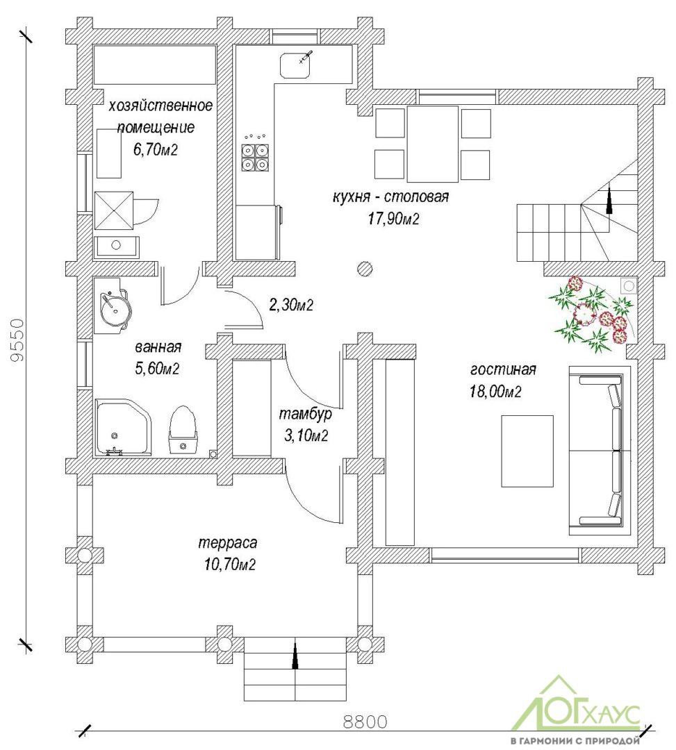 Планировка дома из ОЦБ по проекту 147 (1й этаж)
