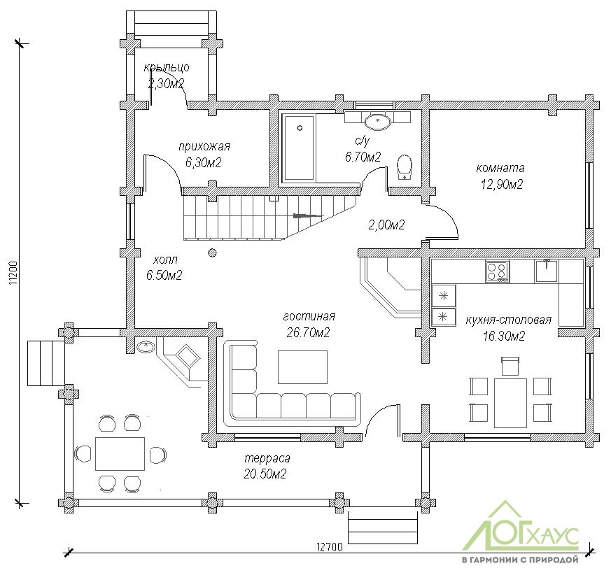 Планировка дома из бревна по проекту №197 (1й этаж)