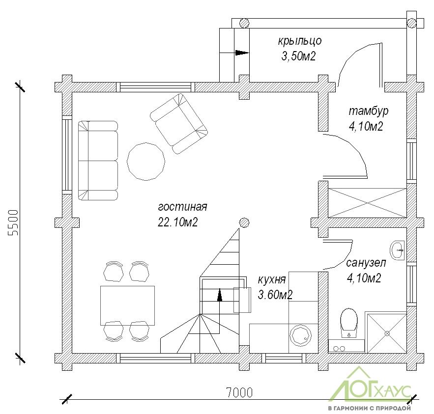 Планировка дома из бревна по проекту 76 (1й этаж)