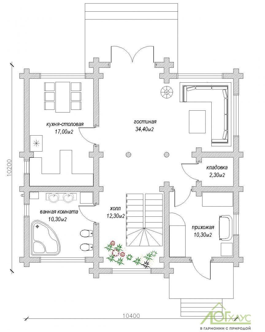 Планировка дома по проекту 197 (1й этаж)