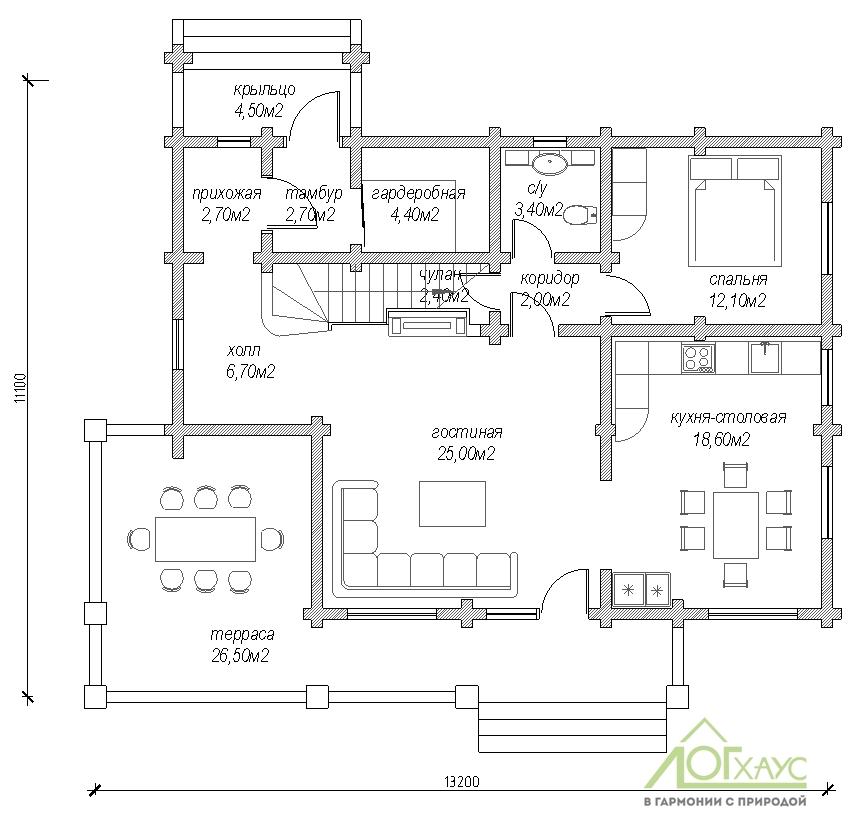 Планировка дома из бревна по проекту 217 (1й этаж)