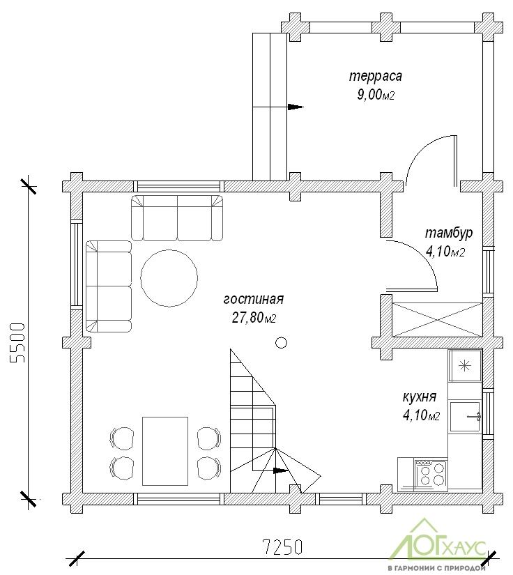 Планировка дома из бревен №89 (1й этаж)