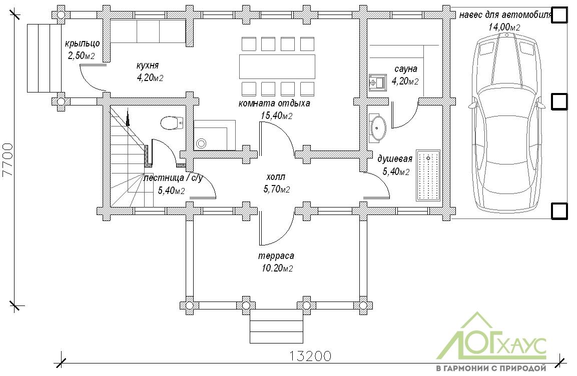 Планировка дома-бани из бревна по проекту 119 (1й этаж)