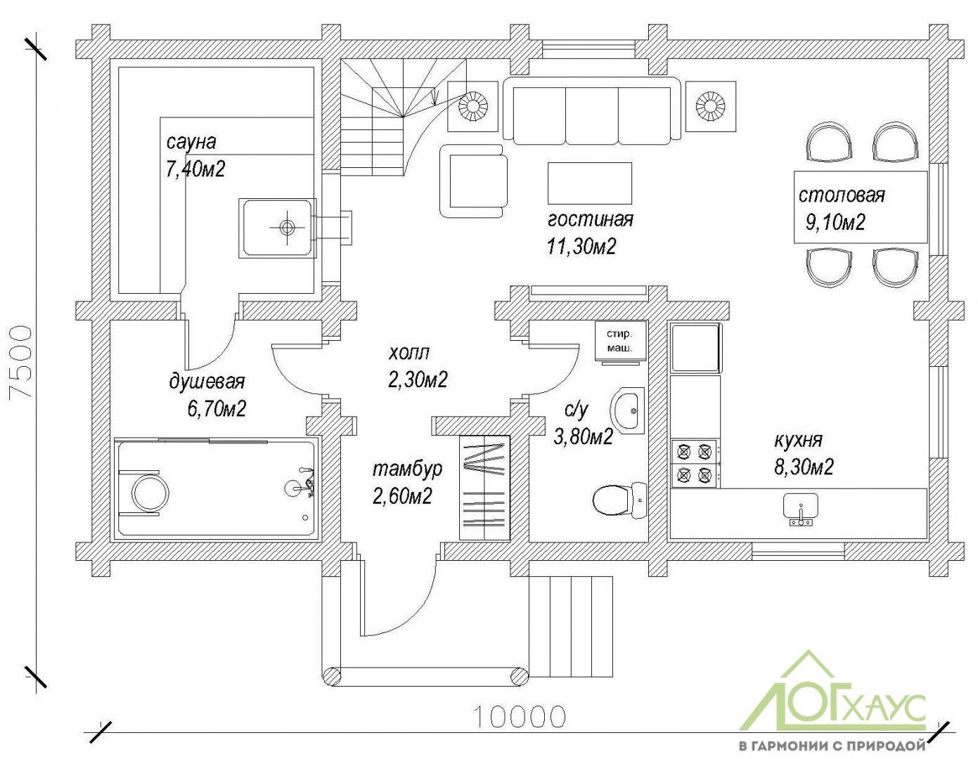 Планировка дома-бани из бревна по проекту 123 (1й этаж)