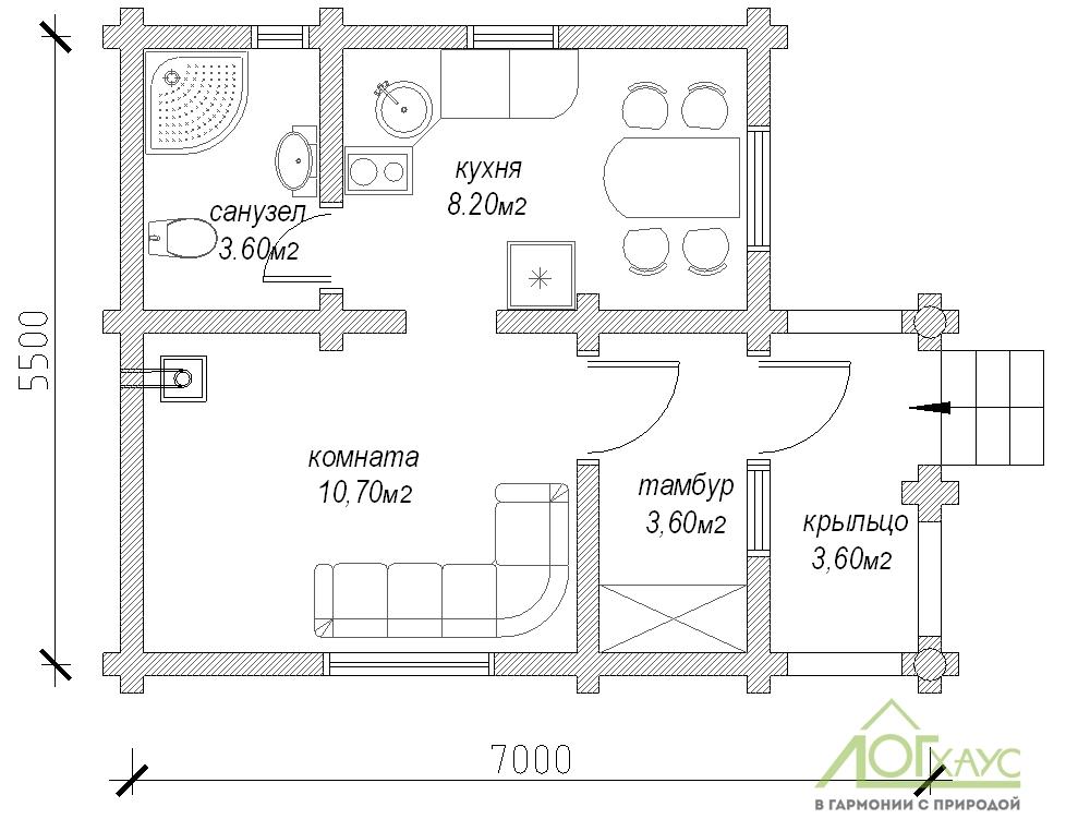 Планировка дома из бревна по проекту 35
